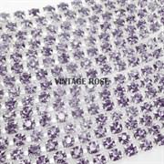 Лента из страз, 4 мм, Лаванда, 10 см (Фиолетовый)