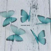 Бабочка из органзы, зеленые, 50 мм, 1 шт