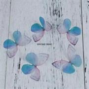 Бабочка из органзы, сине-розовые, 50 мм, 1 шт