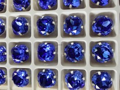 Стразы Премиум в ювелирных кастах  12мм, Sapphire, 2 шт/уп
