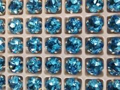 Стразы Премиум в ювелирных кастах, 10 мм, Aquamarine, 2 шт/уп