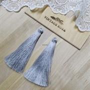 Вискозные кисточки для сережек 9,5 см, Светло-серые