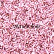 Стеклярус TOHO Bugle4 №38, 3мм, Розовый с серебряным центром, 5г