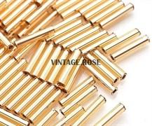 Стеклярус TOHO Bugle3 №22B, 9мм, светло золотой, 5г
