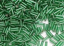 Стеклярус TOHO Bugle3 №27B, 9мм, зеленый глянец, 5г