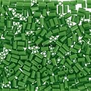 Стеклярус TOHO Bugle2 №47D, Темно-зеленый глянцевый, 3мм, 5г