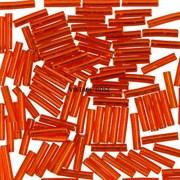 Стеклярус TOHO Bugle4 №25, 9мм, Красно-оранжевый с серебряным центром, 5г