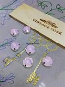 Риволи в ювелирном касте, pink opal, 12 мм,1 шт