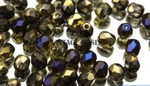 Чешские граненые бусины золото синие 4 мм M308
