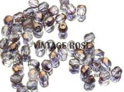 Чешские граненые бусины 3 мм фиолетовые с бронзой G216