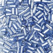Стеклярус TOHO Bugle3 №33, 3мм, Светло-синий с серебряным центром, 5г