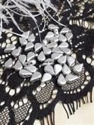 Бусины капля 5*8 мм матовое серебро 10 шт/уп