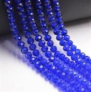 Граненые бусины, королевский синий прозрачный, 3*4 мм, Чехия