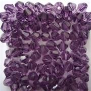 Граненая бусина, биконус, Фиолетовые