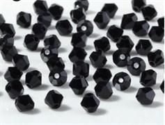 Граненая бусина, биконус, черный джет