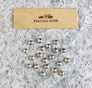 Стразы Премиум риволи в ювелирных кастах, 10 мм, Шампань АВ, 2 шт