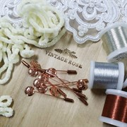Булавка для броши с перфорированным диском 12 мм, шляпная булавка. Цвет: розовое золото. 60 мм.