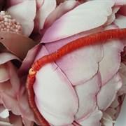 Пайетки 4мм плоские на нитке, Коралловый Радужный, Ливан
