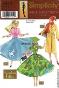 Выкройки Fabulous Fifties Doll Clothes Pattern - Simplicity 9840