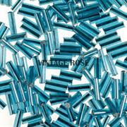 Бисер стеклярус АСТРА 5мм прозрачный/с серебристой серединкой голубой (23В), 20г