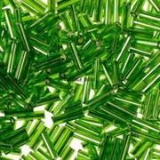 Бисер стеклярус АСТРА 5 мм прозрачный/с серебристой серединкой зеленый (27В), 20г