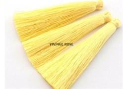 Вискозные кисточки для сережек 7 см, Желтые