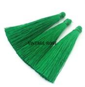 Вискозные кисточки для сережек 7 см, Зеленые