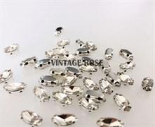 Стразы в цапах, 4*8 мм, бриллиант, 3 шт/уп