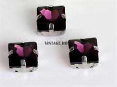 Стразы в цапах, квадрат, 10*10 мм, фиолетовый, 5 шт/уп